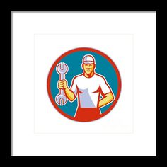 Mechanic Holding Wrench Circle Retro Framed Print By Aloysius Patrimonio. Illustration of a mechanic wearing hat holding wrench facing front set inside circle on isolated background done in retro style. #illustration #MechanicHoldingWrench