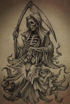 Bad Ass Drawings and Badass Frozen Pencil Drawings - Gigantesdescalzos Evil Tattoos, Badass Tattoos, Skull Tattoos, Body Art Tattoos, Sleeve Tattoos, Tatuaje Grim Reaper, Grim Reaper Art, Grim Reaper Tattoo, Grim Reaper Drawings