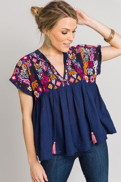 The Blue Door Boutique is your one-stop-shop for cute dresses, affordable tops, and boutique clothing. Kurti Embroidery Design, Embroidery Fashion, Boho Fashion, Fashion Dresses, Fall Outfits, Casual Outfits, Denim Jacket With Dress, Cute Dresses, Summer Dresses