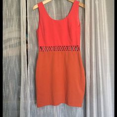 Listing! Ark & Co. Color Block Cut Out Dress Ark & Co. coral and orange color block dress with Criss cross cut out at waist. Size large however runs small. Zipper down side. Approximately 32.5 inches total length and 16 inches armpit to armpit. Material 95% cotton, 5% spandex Ark & Co Dresses Mini
