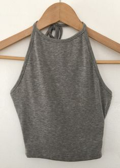 grey rib halter crop top