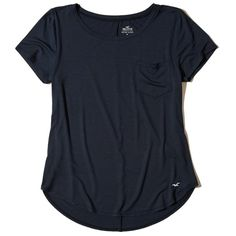Hollister Must-Have Easy Pocket T-Shirt ($15) ❤ liked on Polyvore featuring tops, t-shirts, navy, curved hem t shirt, jersey t shirt, crewneck t shirt, pocket t shirts and pocket tees