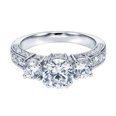 ENGAGEMENT - 1.85cttw Vintage Style 3-Stone Plus Diamond Engagement Ring