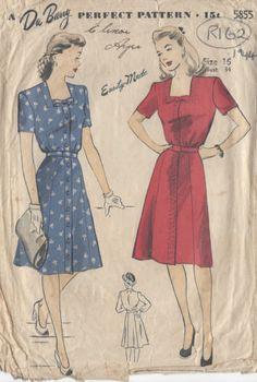 "1944 Vintage Sewing Pattern DRESS B34"" (R162) By 'Du Barry' | eBay"