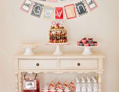 """Vintage Trains in Red, Black, Gold and White / Birthday """"Vintage Train Party"""" 