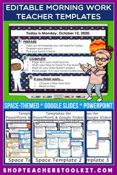 These space-themed Editable PowerPoint and Google Slides Teacher Templates include space to type the day and date, reminders of what to do when entering the classroom, as well as 'must do' and 'may do' assignments. Remind your students of their morning assignments during arrival time by displaying them on your whiteboard or SMARTBoard. #teachertemplates #morningarrivalinstructions #editable #powerpoint #googleslides #funthemes #space #planets #outerspace