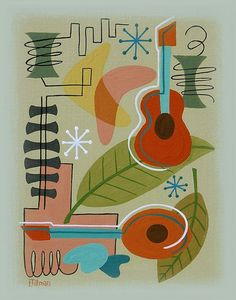 Mid Century Modern Eames Retro Limited Edition Print from Original Painting Guitar Mandolin on Etsy, $30.00