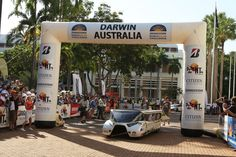 Eindhoven's Stella Luxe cross the finish line. They carried a passenger during the entire race. Solar Car, Applied Science, Eindhoven, Finish Line, Darwin, Solar Power, Challenges, Racing, Australia
