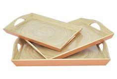 Asst. of 3 Spun Bamboo Trays, Orange