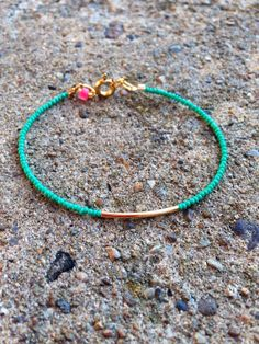 Turquoise beaded bracelet with gold tube bead and gold by epBijoux, $12.00