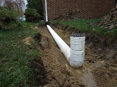 DIY - How to install a drain pipe from the gutter of your house to drain to your backyard. Pictures of the concrete, burying the pipe, digging the trench, sand backfill and PVC pipe. Material list and prices.