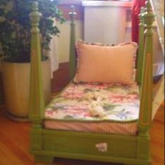 Upside-down table made into toddler bed! such a good idea!