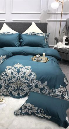 Now you can create a more beautiful and comfortable sleeping environment in your bedroom with minimum effort. With the help of this amazing Egyptian Cotton Luxury Bedding Set with Embroidery which will improve your bedroom decor by transforming your bed into a decor piece right in the center of your bedroom. Improve your sleep hygiene as well with softer touch bedding fabric. #bedding #egyptian #cotton #luxury #bedroom #decor #luxurybedding