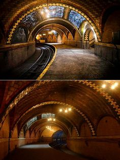 Opened in 1904 for the Manhattan Main Line, the City Hall Station was supposed to be the heart of the subway system. With the looks of the Grand Central and the emptiness, the secret station looks … Abandoned Buildings, Abandoned Places, Places In New York, Places To Visit, City Hall Station, New York Subway, Beautiful Architecture, Travel Usa, New York City