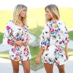 OMG, BACK AGAIN?! Yup, your fave floral romper has been restocked! Get yours while they last! Shop at savedbythedress.com