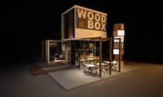 """Design of exhibition stand for """"WOOD BOX"""" by Sarah-Michelle Krikhely, via Behance"""