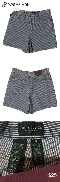 """‼️SALE Lauren jeans Co. Ralph Lauren shorts size 8 Size 8P! Excellent condition! Super cute high waist and trendy! Flat measurements: inseam-4"""", waist flat- 15"""" rise 10"""" Lauren Ralph Lauren Shorts Jean Shorts"""