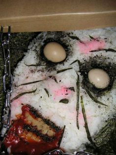 The most Frightening Bento Lunch Ever Japanese Bento Box, Sushi Art, Bento Box Lunch, Bento Lunchbox, Box Lunches, Food Humor, Creative Food, Food Photo, Something To Do