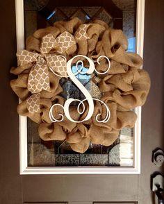 Classic Burlap Monogram Wreath by JustMyStyleWreaths on Etsy