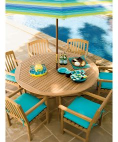 Oxford Garden 67 in. Round Patio Dining Set - Seats 6 - Patio Dining Sets at Hayneedle