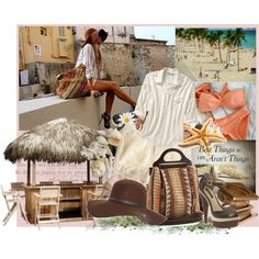 """Lovely travel inspired beach wear - """"The best things in life aren't things."""" I complete agree. Created by codman on Polyvore"""