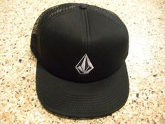 New Volcom Full Stone Cheese Trucker mesh Hat black embroidered white  Summer Days a84f9acaf650