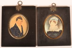 Two Early 19th Century Miniature Oval Portait Paintings : Lot 507