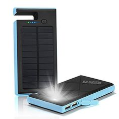 GRDE Solar Charger Portable Solar Power Bank with Phone Dock 10000mAh Dual USB…