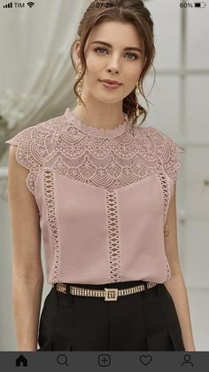 Look Fashion, Fashion Outfits, Casual T Shirts, Casual Wear, Collar Blouse, Classy Women, Types Of Sleeves, Chiffon Tops, Cute Dresses