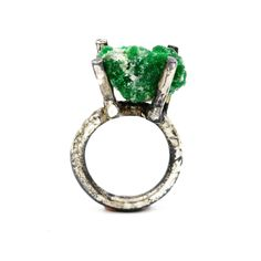 Sterling silver ring, set with raw green Tourmaline