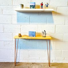 Console Table/Radiator Table 120cm x 22cm Industrial Urban Contemporary With Metal Hairpin Legs - Zinc / Oak Antique / 120cm