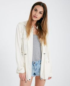 <p>A comfy lightweight anorak jacket featuring a super soft twill knit fabric, button flap front pockets, an open pocket at the chest with pen loops, buttoned shoulder tabs, and a cinched drawstring waist.</p>  <p>Model wears a size medium.</p>  <ul> <li>Hooded</li> <li>Zip Front Closure</li> <li>Lightweight</li> <li>Unlined</li> <li>Long Sleeves</li> <li>Rayon</li> <li>Machine Wash</li> <li>Imported</li> </ul>