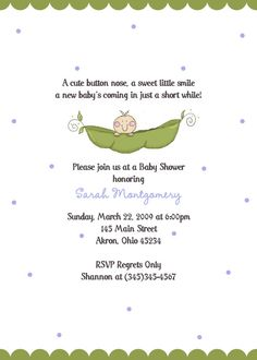 Pea Pod - Twins too - Baby Shower Birthday Invitation Custom Design - Printed Invitations