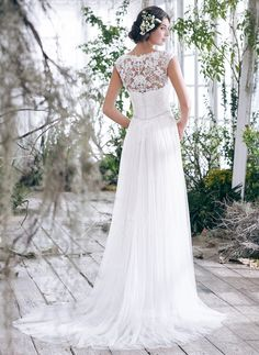 A-Line/Princess Scoop Neck Court Train Beading Appliques Lace Tulle Covered Button Cap Straps Sleeveless Church Beach Hall No Spring Summer Fall Ivory White Wedding Dress