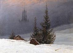 Winter landscape with church - Caspar David Friedrich