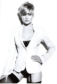 Kirsten Dunst. if she can pull off short hair, so can you. but not that outfit, please.