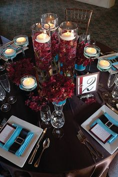 Brown, Burgundy and Teal wedding reception decorations. #ezeevents