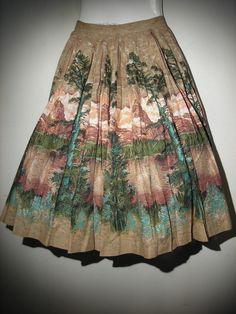 50's Novelty or Border Print, Full Pleated Circle Skirt One Full Panel Size 4/6  #Handmade