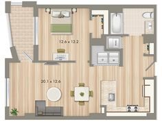 Park Chelsea at The Collective | 1 Bedroom Floorplan | 806 sq ft | Luxury Apartments In Washington DC