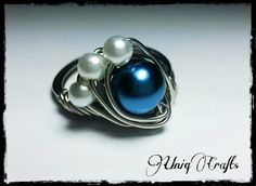 Blue and white glass pearl ring wire wrapped by UniqJewelryDesigns, $16.00