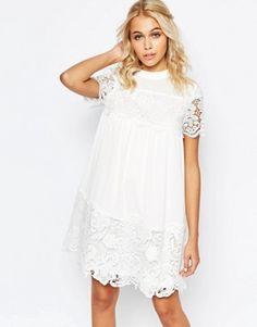 Fashion Union Smock Dress With Lace Inserts £35.00