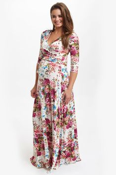 Ivory-Floral-Draped-3/4-Sleeve-Maxi-Dress