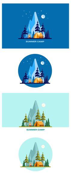 Flat Design Illustration, Manga Illustration, Landscape Illustration, Digital Illustration, Camping Diy, Retro Camping, Jeep Camping, Camping Kitchen, Camping Places