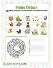 Die Schüler müssen 15 Wörter, die mit Ostern zu tun haben finden, die Wörter schreiben und Bilder nummerieren.