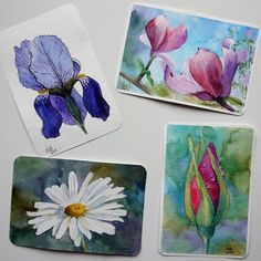 Set of watercolor postcards with flowers