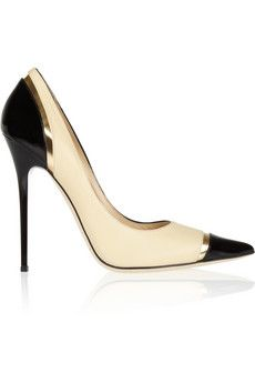 Limit tri-tone leather pumps by: Jimmy Choo