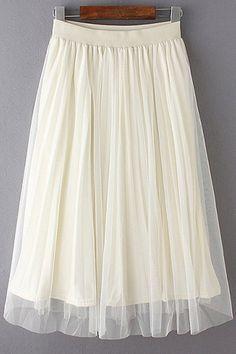 Mesh Spliced Elastic Waist Skirt