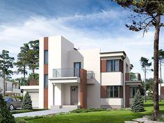 Nowoczesna bryła z dachami płaskimi zapewnia funkcjonalność budynku również na piętrze.