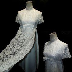 Vtg 60s Murray Hamburger Ivory Wedding Dress Sz S/M Short Sleeve Empire Waist #vtg #60s #1960s #MurrayHamburgerCo #EmpireWaist #WeddingDress #Edwardian #IvoryTaffeta #FloralLaceOverlay #HighCollar #ShortSleeve #FloorLength #TieBackWaist #
