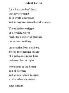 """""""Silent Letter"""" - Katha Pollitt."""